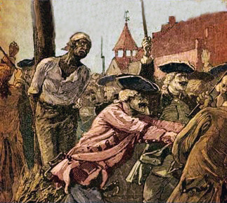 In the wake of a series of fires throughout New York City, rumors of a slave revolt led authorities to convict and execute 30 people, including 13 Black men who were publicly burned at the stake.