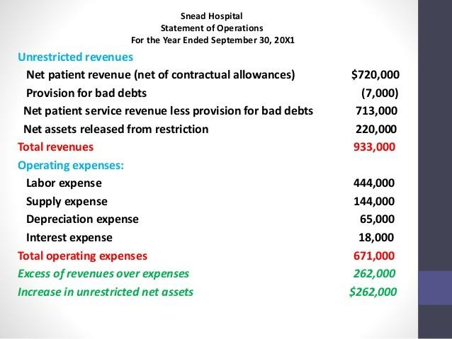 Sneed Hospital Financial Statement