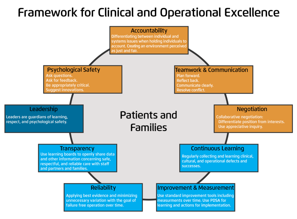 <b>Framework for Clinical and Operational Excellence.</b>Source: HealthCatalyst, 2018, www.healthcatalyst.com/insights/high-reliability-organizations-in-healthcare-framework