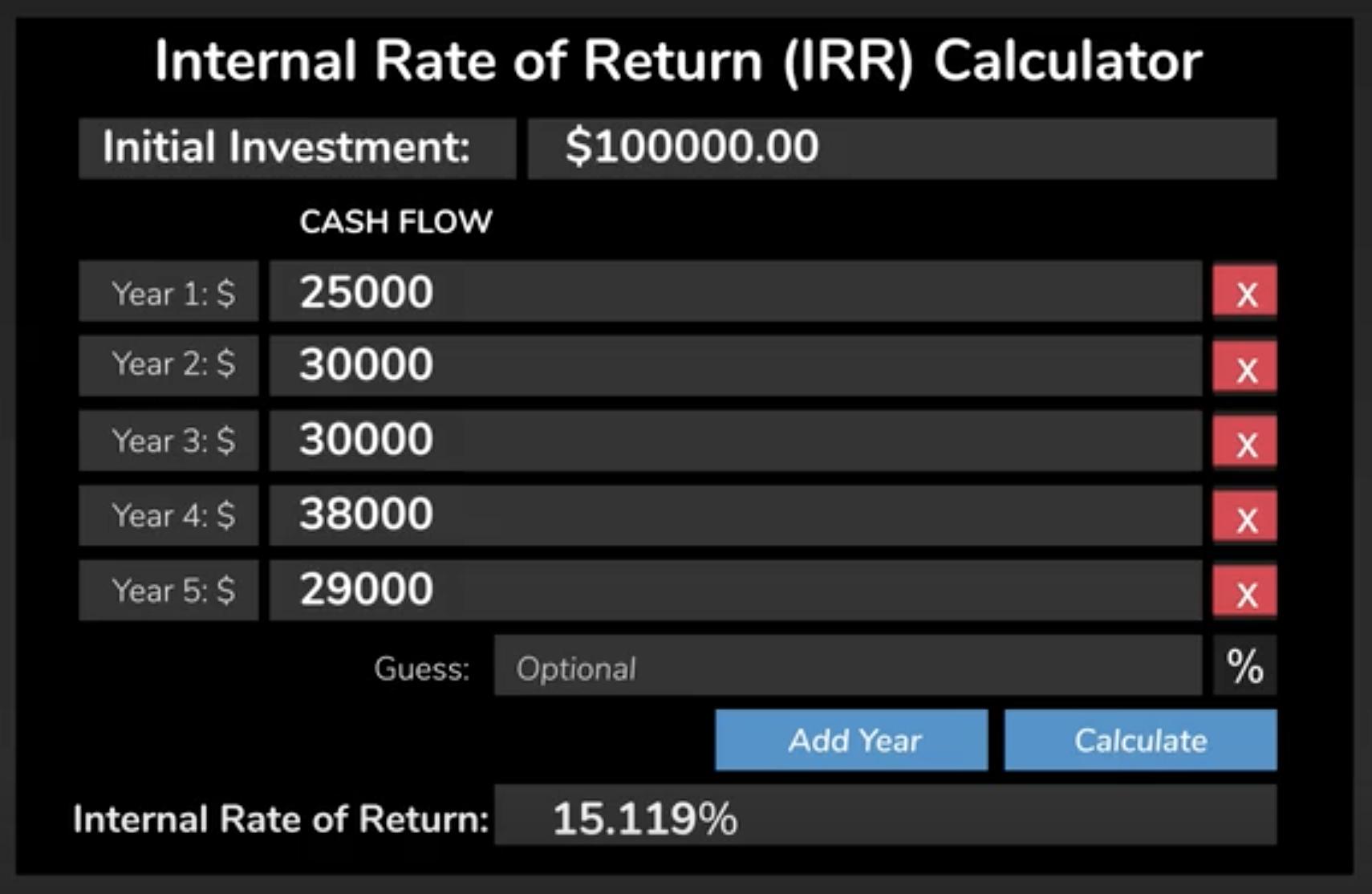 Internal Rate of Return Calculator