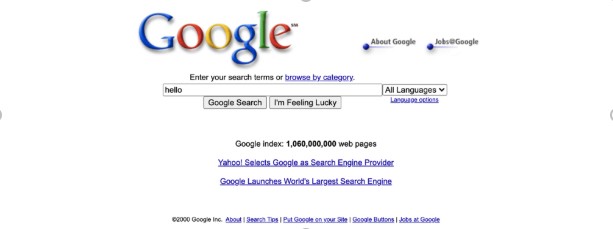 An image of a Google web page with a search bar and very few links.