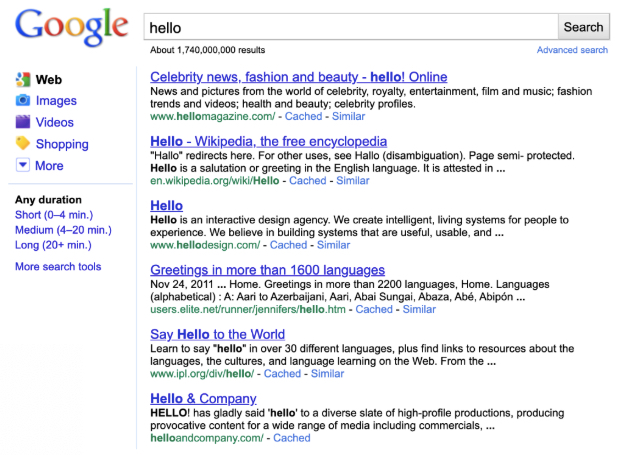 Image of a search results page that shows 6 links for the search term hello out of about 1.740.000.000 results
