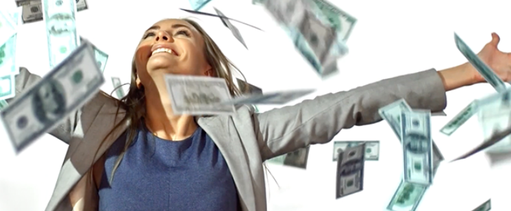 abstract image of a woman being showered with hundred dollar bills