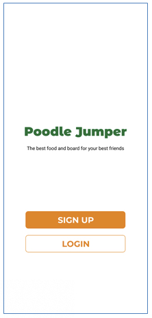 Image shows a landing page titled Poodle Jumper the best food and board for your best friends with a button to sign up and login.