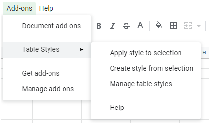 a drop down menu showing Add-ons followed by table styles