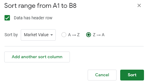 a popup window with title that reads sort range from A1 to B8; a box labeled data has header row is checked; a button labeled Z to A is also checked