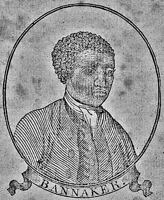 Black-and-white print of Benjamin Banneker