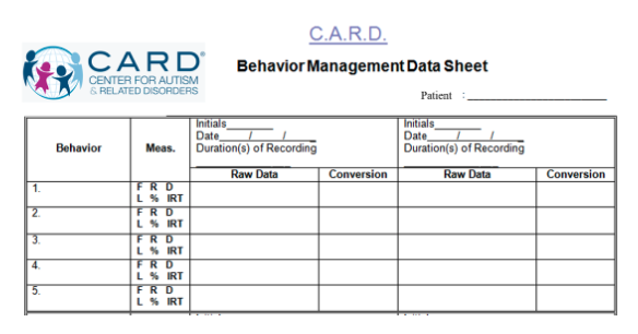 Behavior Management Data Sheet