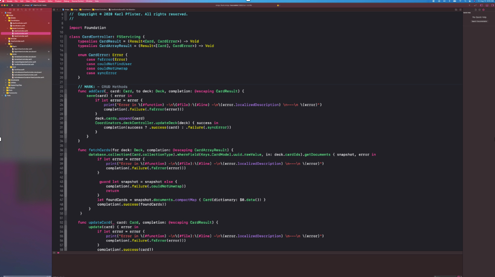 Image shows Swift code in the Xcode application