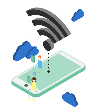 The image shows a tiny man and a tiny woman sitting on an oversized phone while holding devices in front of their faces. Above them is a Wi-Fi icon and clouds.