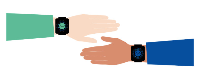 Image shows two hands with smart watches on their wrist.