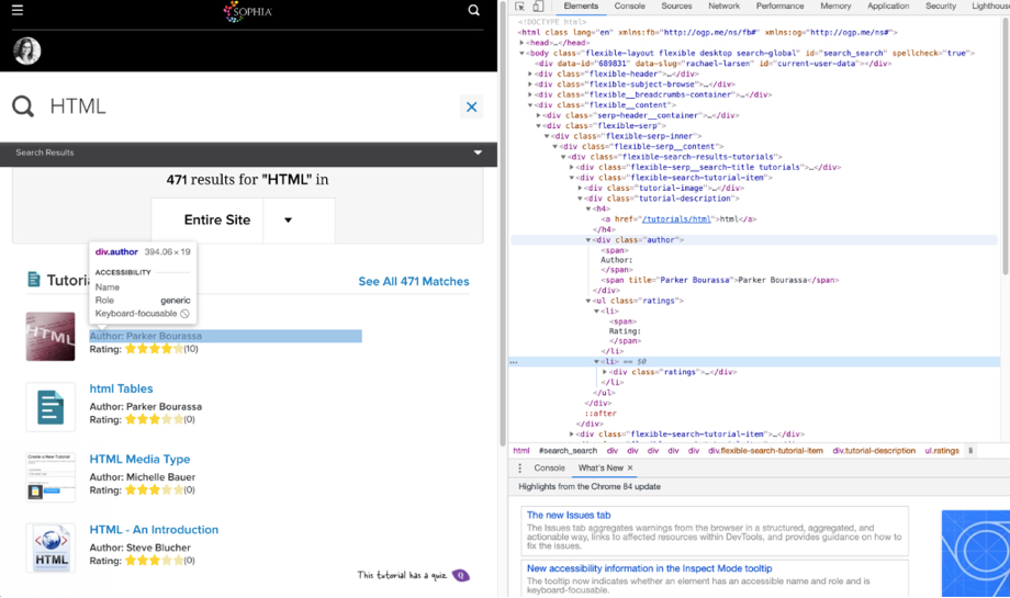 Image shows a browser with the Sophia.org website on the left with a search for HTML and four search results listed. On the right is the inspect console of the browser showing the HTML structure.