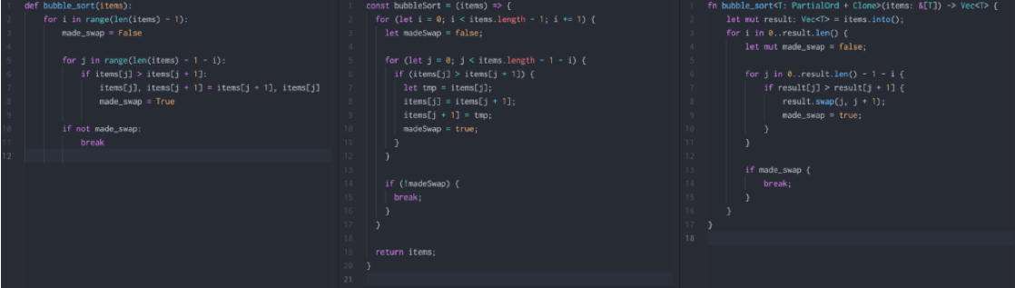 Image shows three sections of code. The section on the left is the most simple and shortest with 12 lines of code. The middle section is the longest with 20 lines of code. The section on the right has 17 lines of code.