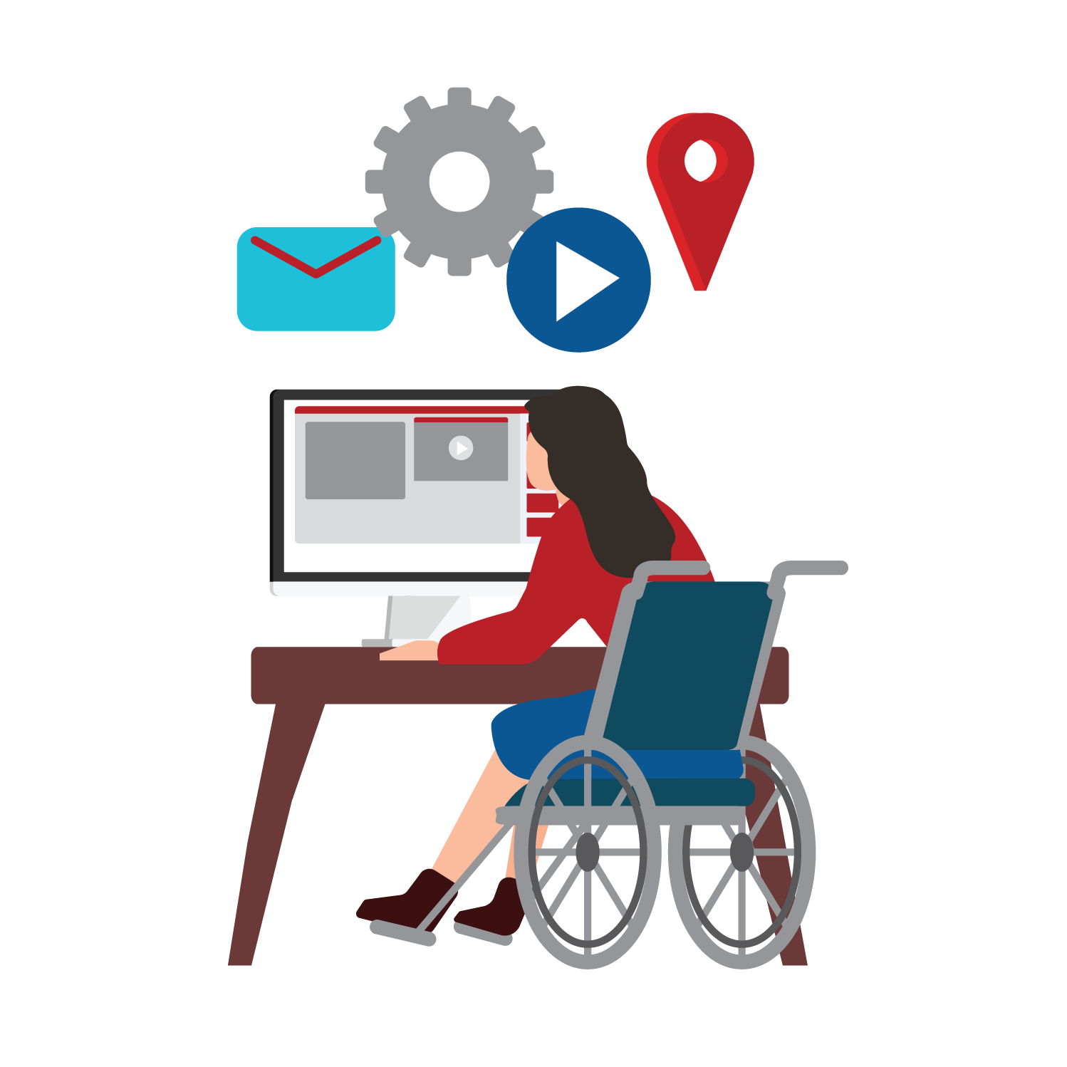 Image of woman in a wheelchair looking at a computer screen on a desk