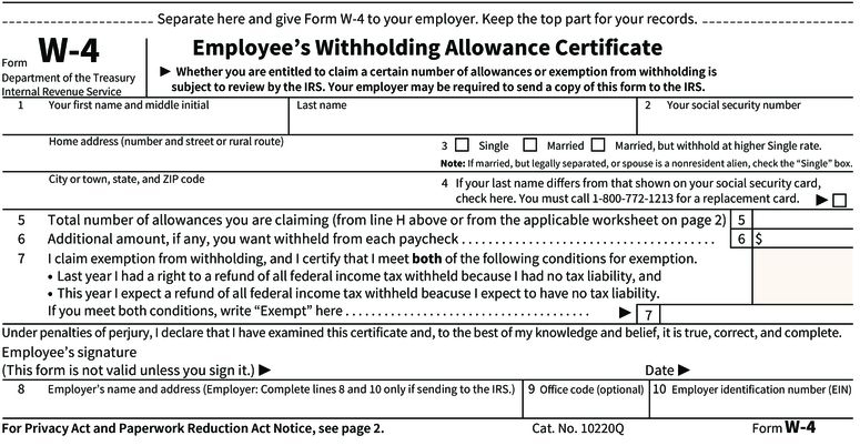 an infographic showing the IRS W-4 form; includes personal information, a withholdings worksheet, and a signature section