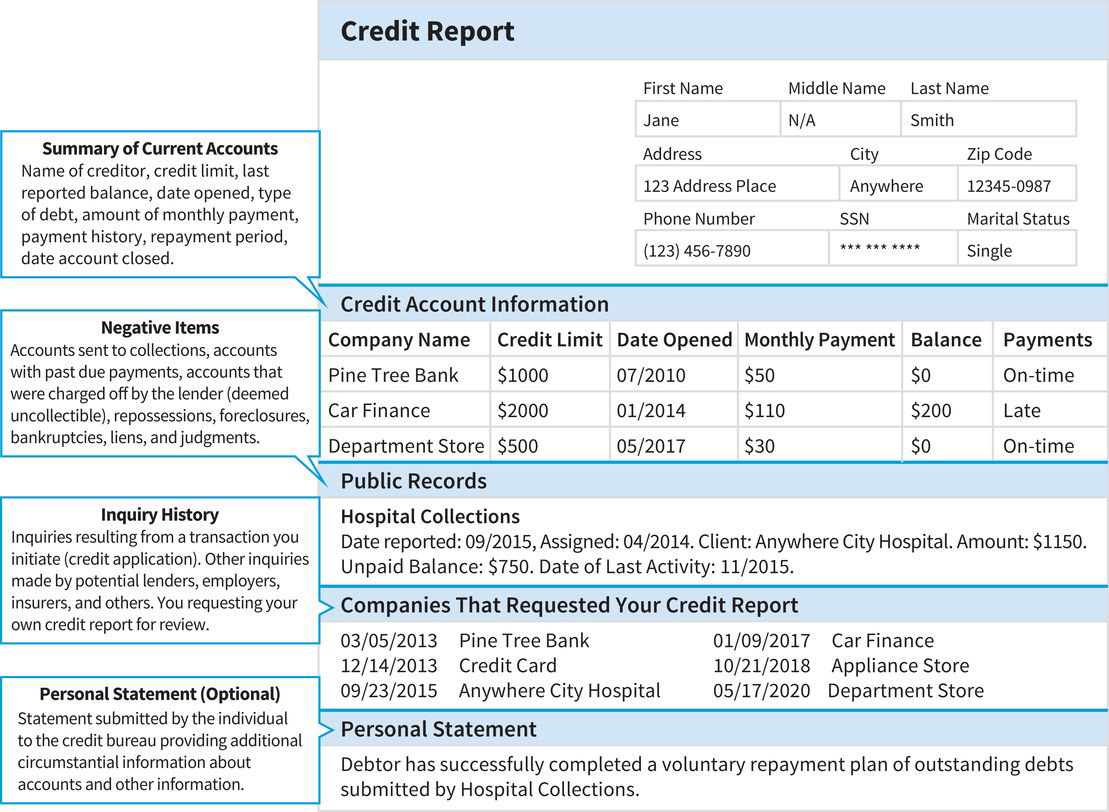 a sample credit report with five primary sections: applicant information, summary of current credit accounts, negative items showing past defaults, your inquiry history, and personal statements from the applicant about special situations