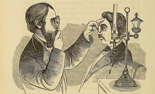 Illustration of an examination of the eye using an opthalmoscope in 1869