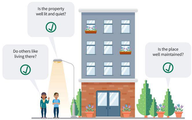 three questions to ask before signing a lease: (one) a woman asks, do others like living there? (two) a man standing by a lamppost asks, is the property well lit and quiet? (three) an evergreen tree asks, is the place well maintained?