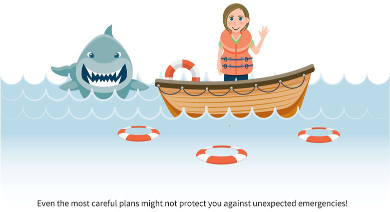 an illustration of a responsible woman in a fishing boat wearing a life vest with life saver rings in the water, but a nasty shark is fast approaching; the caption reads: even the most careful plans might not protect you against unexpected emergencies