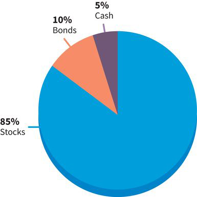 a pie chart with three sectors: (sector one) eighty-five percent stocks in blue, (sector two) ten percent bonds in red, (sector three) five percent cash in purple