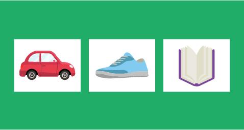 Car, Shoe, Book