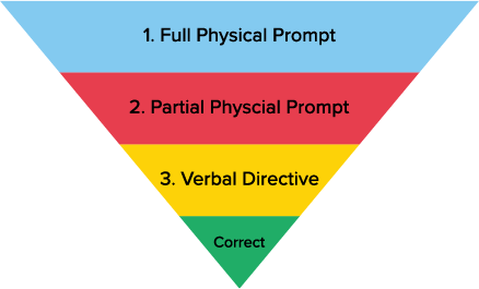 Most-to-least prompting; 1. Full Physical Prompt, 2. Partial Physical Prompt, 3. Verbal Directive, Correct