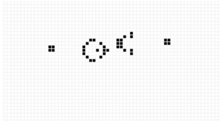 Image of a series of points on graph paper that form a small circle pointing to a semicircle.