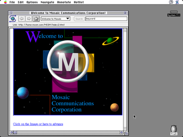 Image of Mosaic Communications Corporation welcome page on a Mac OS 7 screen.