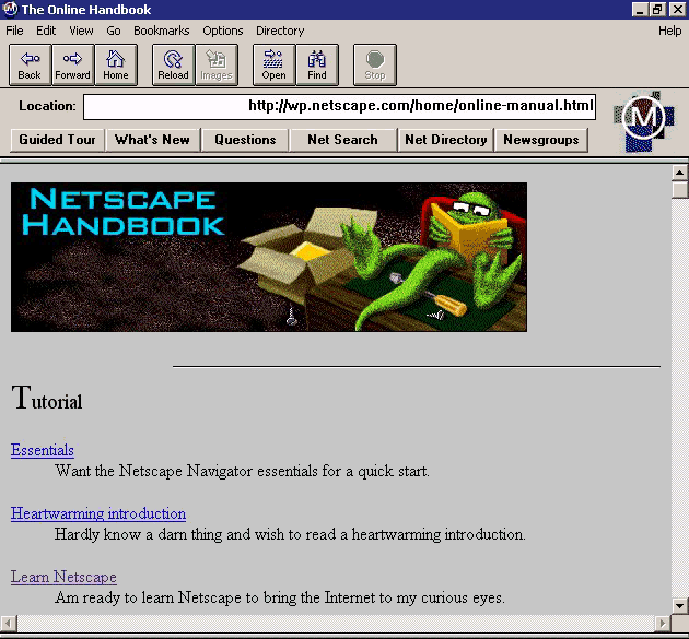 Image of early browser window with the headline Netscape Handbook and a link to tutorials below. Also there is a figure of a green frog sitting in a chair reading a book.