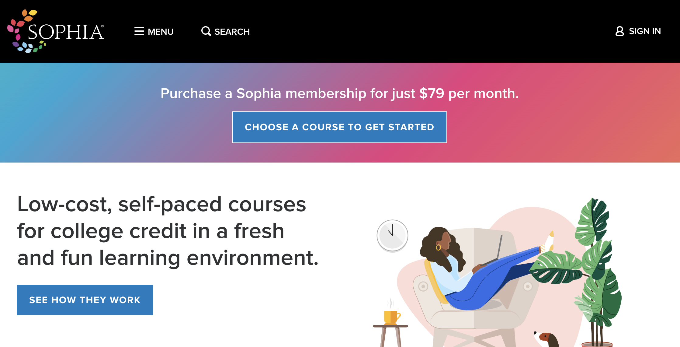 Image of a dark skinned person lounging in a chair while looking at a laptop and buttons to choose a course to get started and see how the courses work.