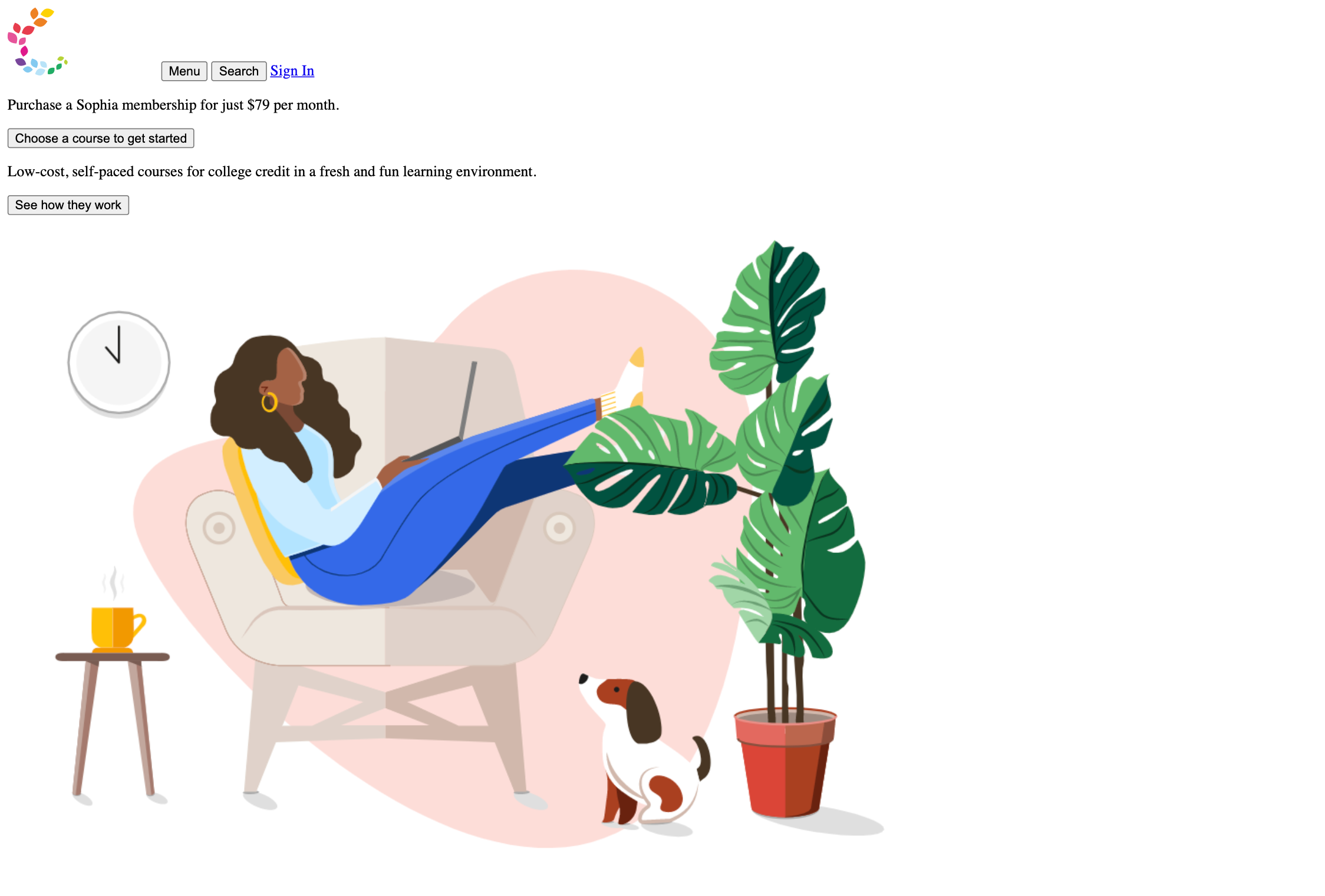 Image of Sophia homepage with person lounging in chair with a laptop without CSS text.