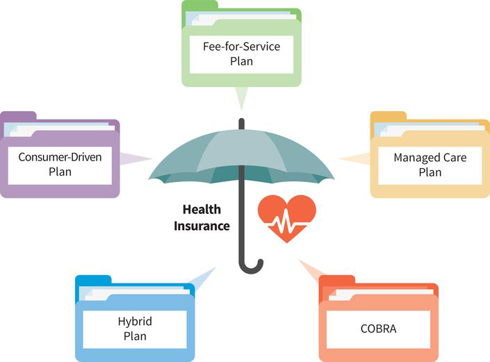 an infographic with an umbrella in the center that reads health insurance; five folders are emerging from the umbrella: (folder one) fee-for-service plan, (folder two) managed care plan, (folder three) cobra, (folder four) hybrid plan, (folder five) consumer-driven plan