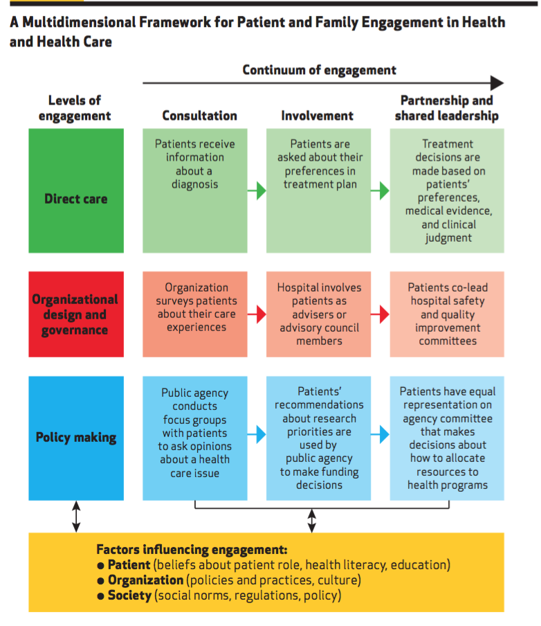 A Multidimensional Framework for Patient and Family Engagement in Health and Health CareSource: Kristin L. Carman, Pam Dardess, Maureen Maurer, Shoshanna Sofaer, Karen Adams, Christine Bechtel, and Jennifer Sweeney,