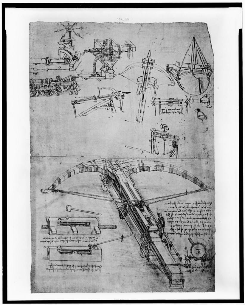 Reproduction of page from notebook of Leonardo da Vinci showing giant crossbow