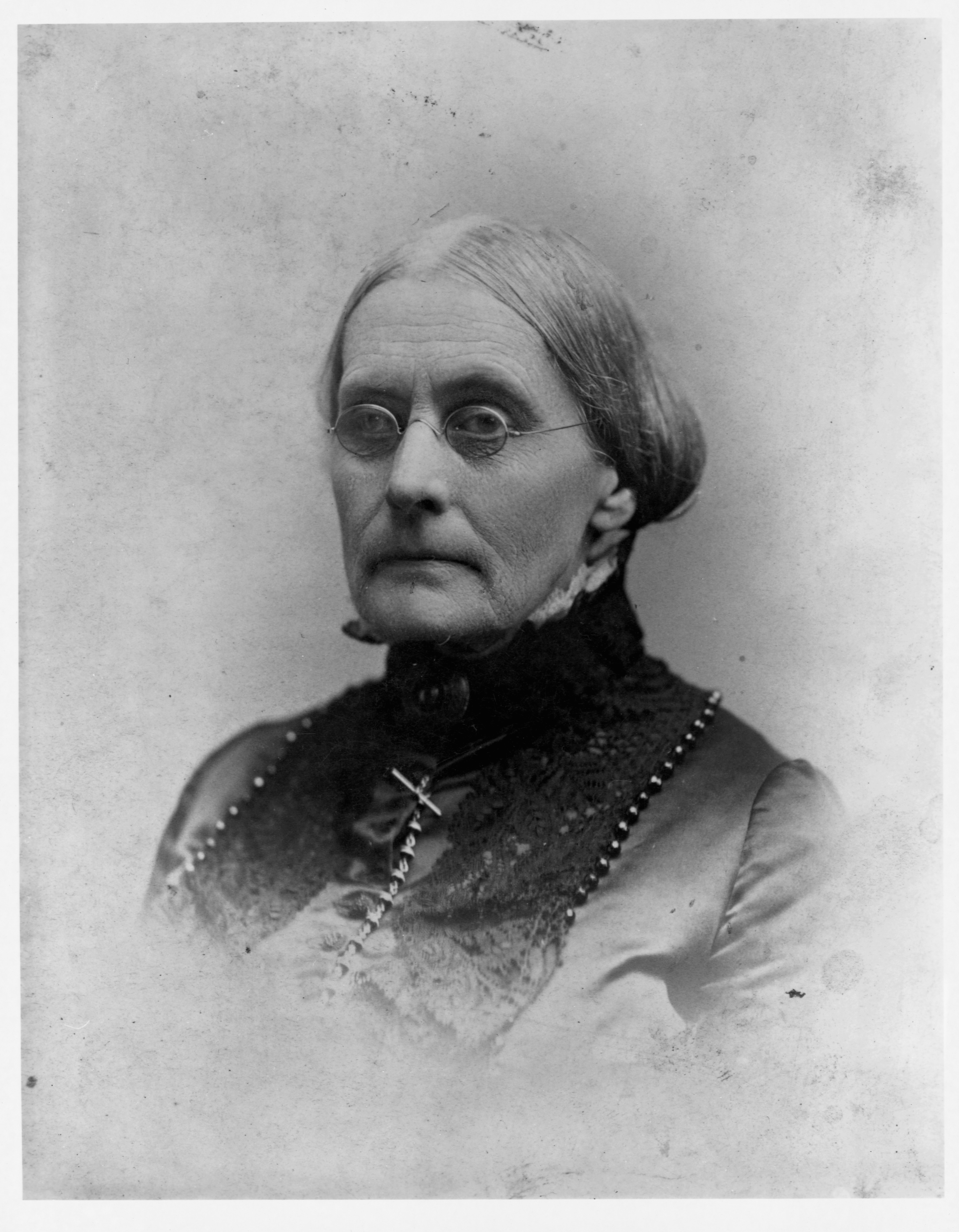 Close-up, black-and-white photograph of Susan B. Anthony