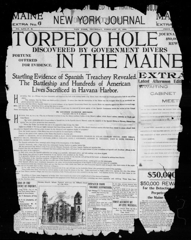 Photograph of the front page of the New York evening journal from February 17, 1898