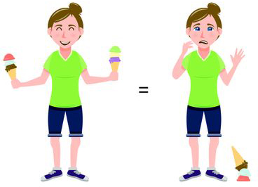 an illustration depicting equality: a happy woman holding two ice cream cones is equivalent to a sad woman who has dropped just one ice cream cone