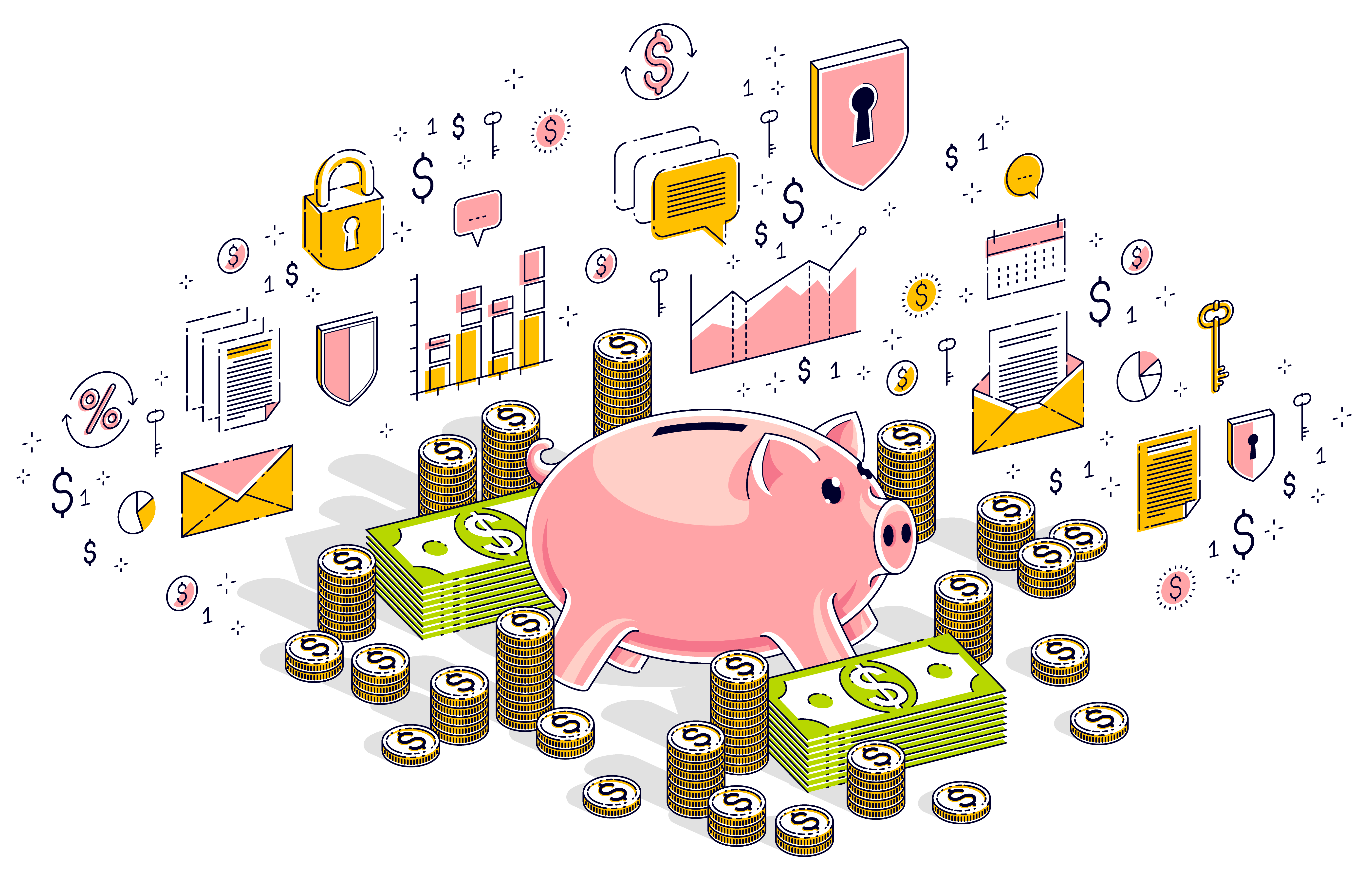 abstract illustration of economics and finance, including a piggy bank, stacks of coins, and an assortment of dollar bills