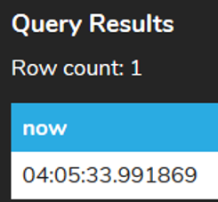Current Time Query Result