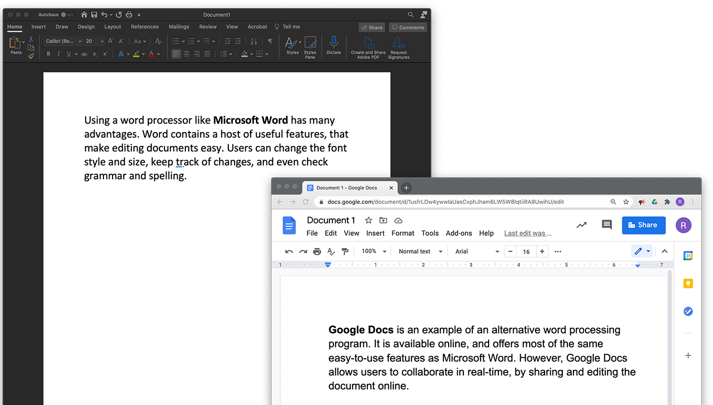 MS Word and Google Doc Comparison