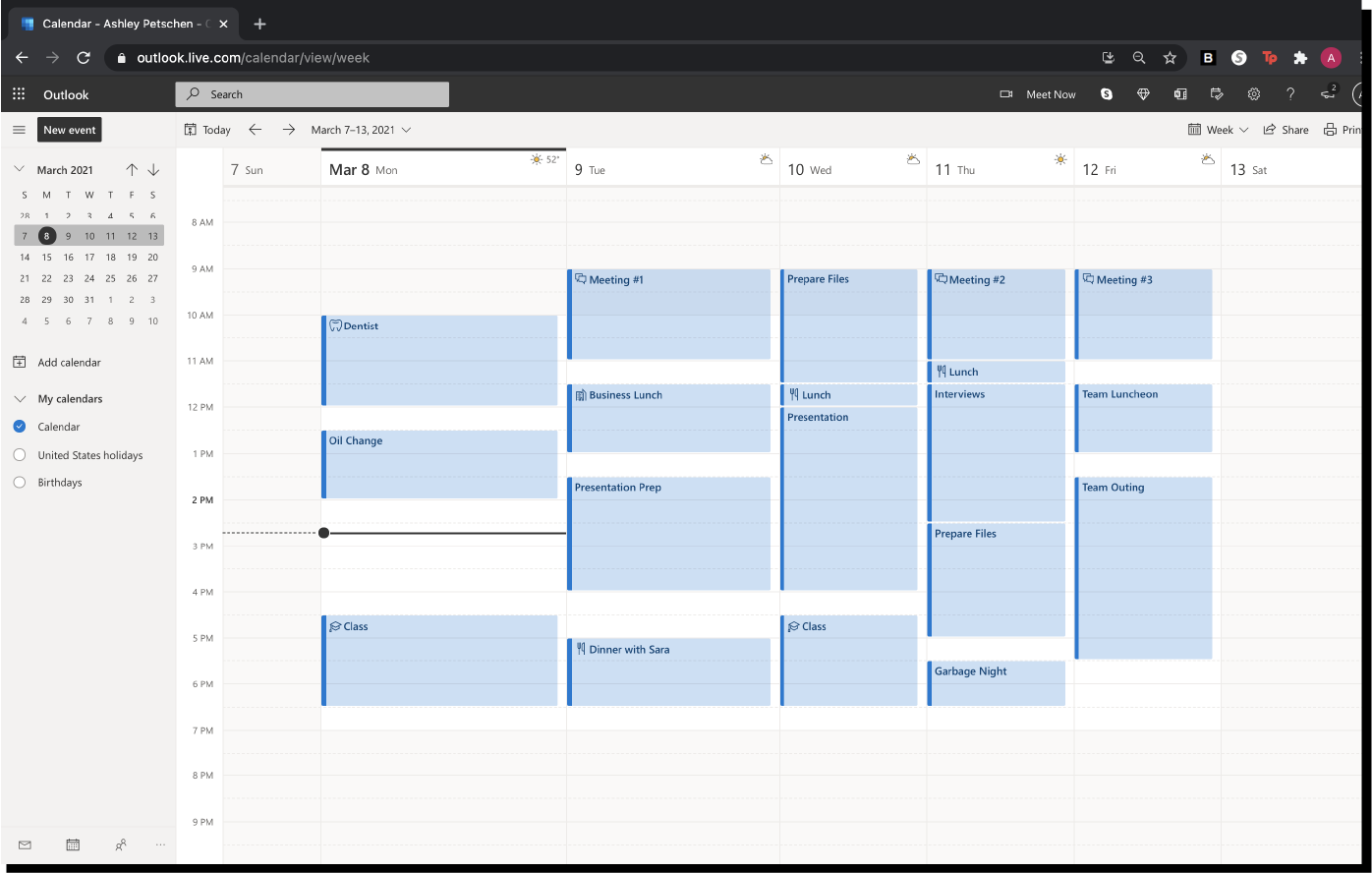 Outlook Calendar Time Blocking Example