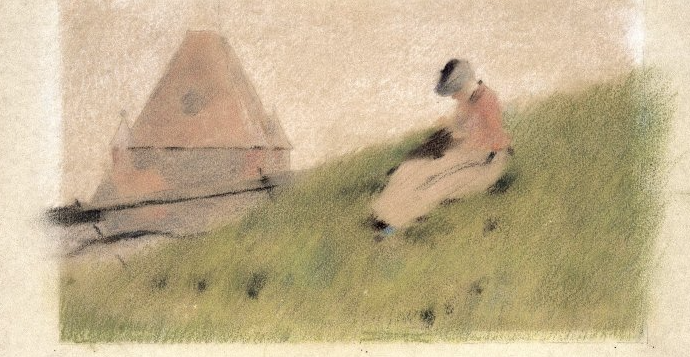 Pastel drawing of On the Cliff by Theodore Robinson