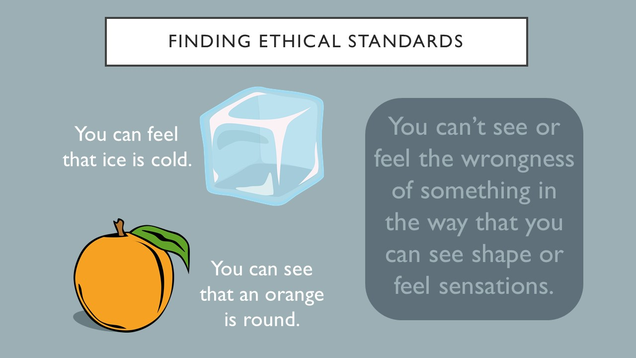 Finding ethical standards.  You can feel that ice is cold.  You can see an orange is round. You can't see or feel the wrongness of something in the way that you can see shape or feel sensations.