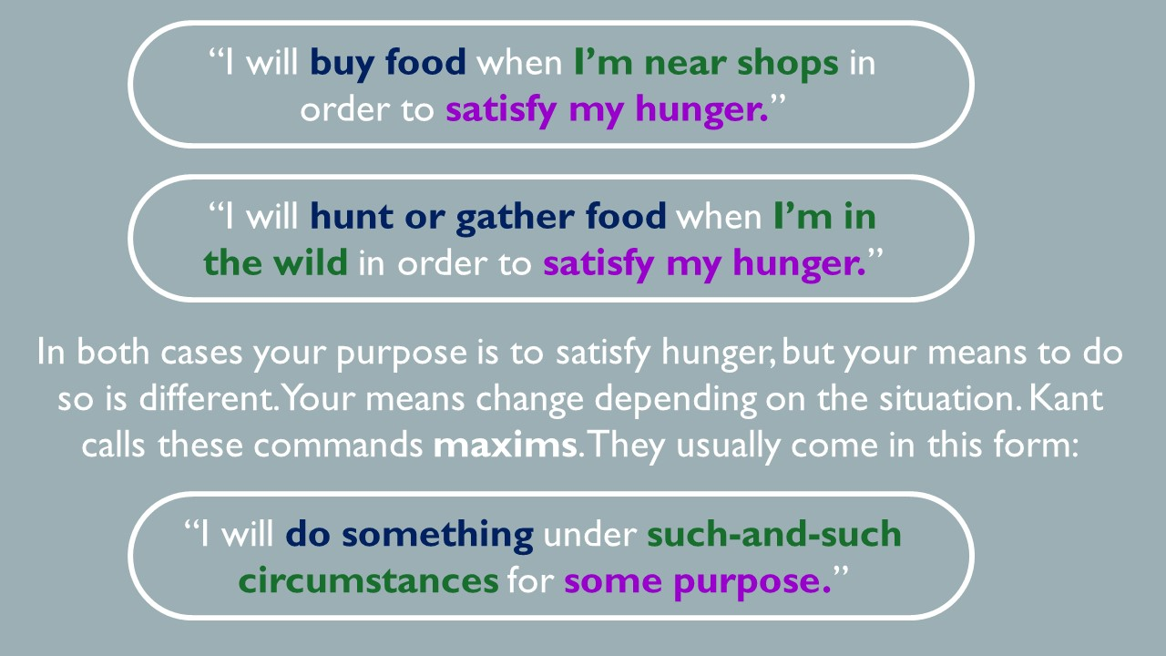 I will buy food when I am near shops to satisfy my hunger. I will hunt or gather for food when I am in the wild in order to satisfy my hunger.  In both cases, your purpose is to satisfy hunger but your means to do so is different. Your means change depending on the situation. Kant calls these commands maxims. They usually come in this form: I will do something under such and such circumstances for some purpose.