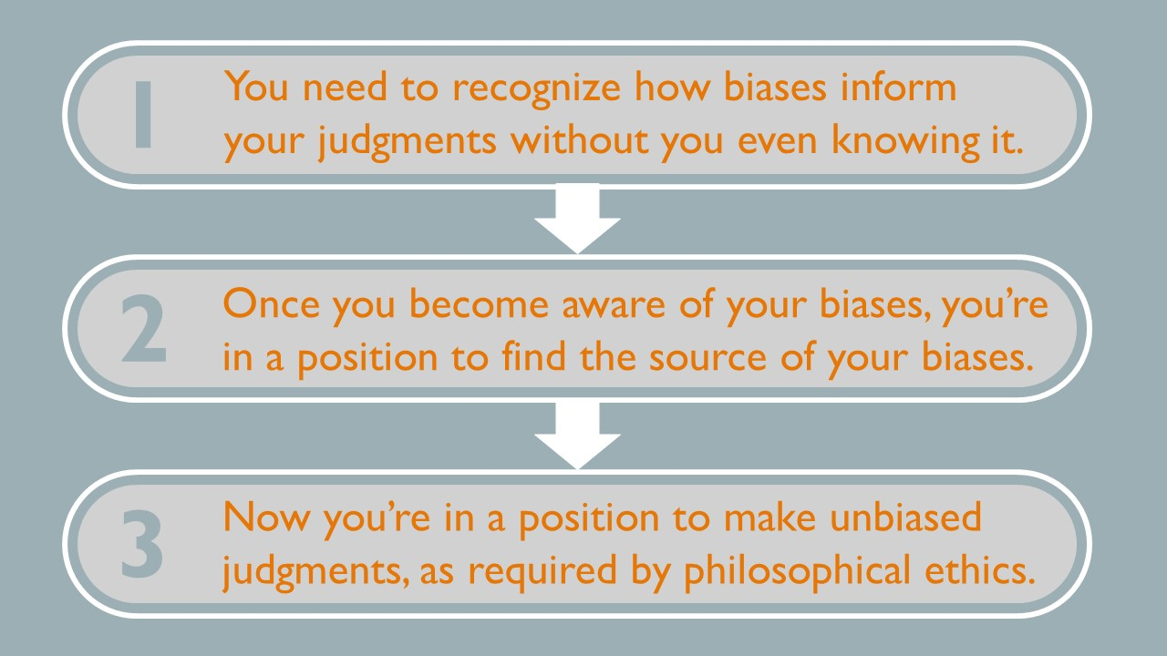 Step 1- you need to recognize how biases inform your judgments without you even knowing it.  Step 2- Once you become aware of your biases, you're in the position to find the source of your biases.  Step 3- Now you're in a position to make unbiased judgments, as required by philosophical ethics.