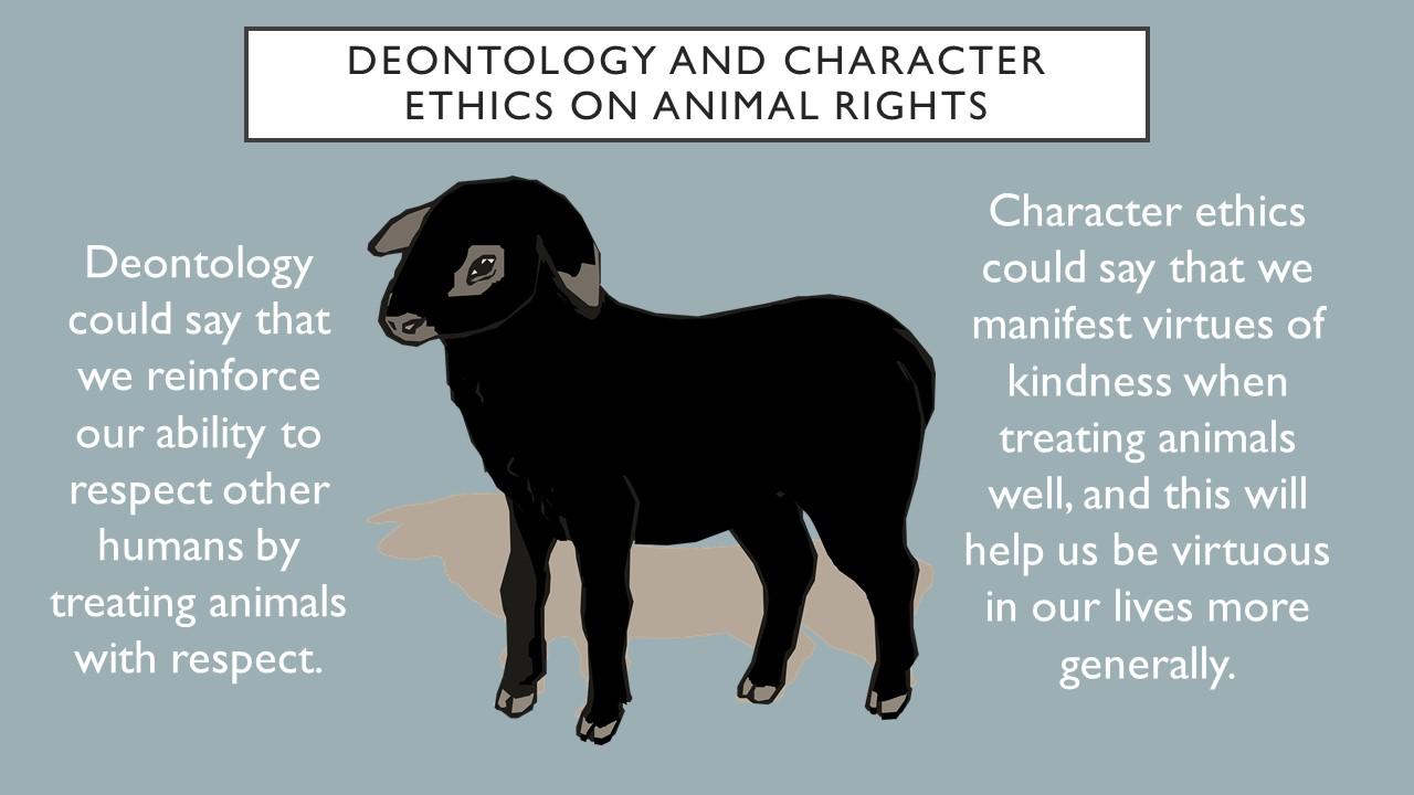 Deontology could say we reinforce our ability to respect other humans by treating animals with respect.  Character ethics could say that we manifest virtues of kindness when we treat animals well, and this helps us be virtuous in our lives more generally.