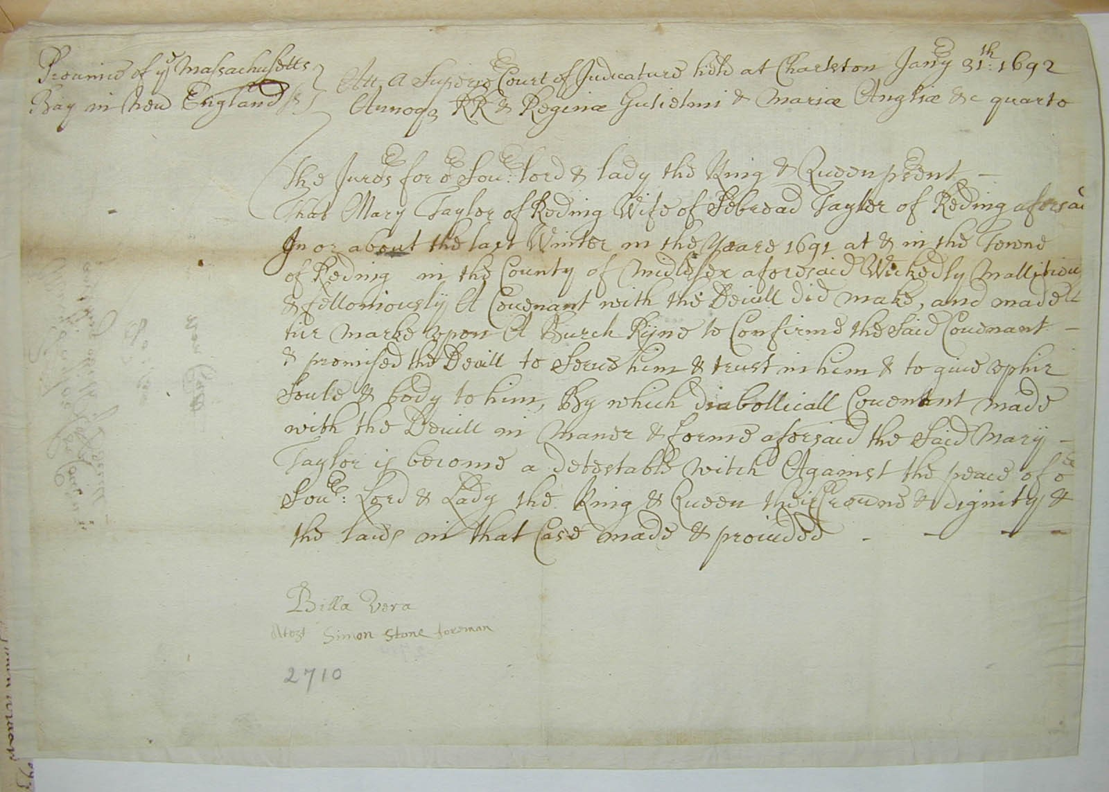 image of court indictment of Mary Taylor
