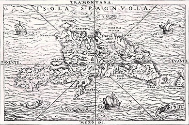 This 16th-century map shows the island of Hispaniola (present-day Haiti and Dominican Republic).
