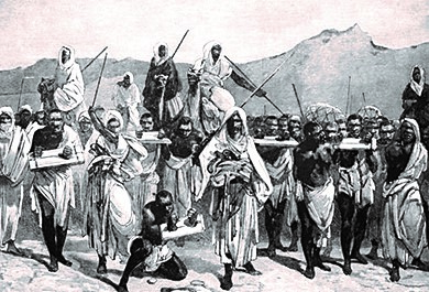 Traders with a group of slaves. Note how the slaves are connected at the neck. Muslim traders brought slaves to the North African coast, where they might be sent to Europe or other parts of Africa.