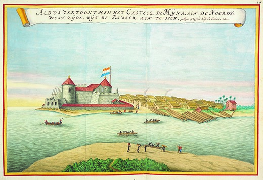 Elmina Castle on the west coast of Ghana was used as a holding pen for slaves before they were brought across the Atlantic and sold. Originally built by the Portuguese in the 15th century, it appears in this image as it was in the 1660s, after being seized by Dutch slave traders in 1637.